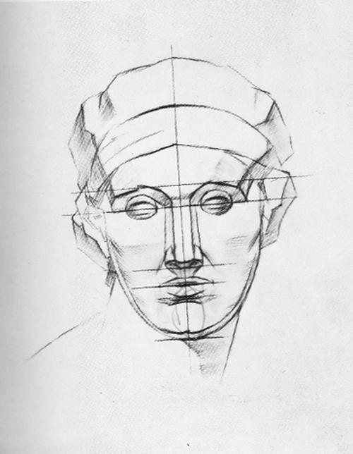рисования гипсовой головы