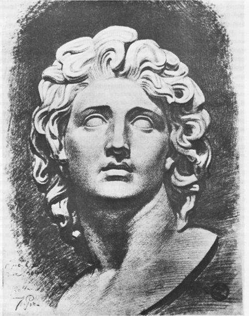 И. Е. Репин. Рисунок головы Севера.1864.