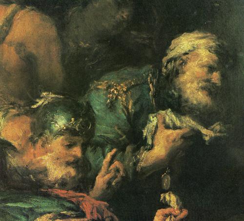Ф. Гварди. Александр Македонский у тела убитого персидского царя Дария. Фрагмент.