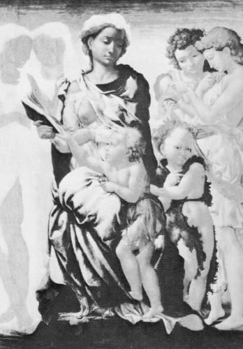 Микеланджело. Мадонна с младенцем, Иоанном Крестителем и четырьмя ангелами. Конец 1490-х гг.